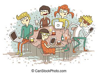gadgets., קבץ, גלובלי, צעירים, דוגמה, ציור היתולי, שלהם, וקטור, כפר, mode., eps10, לשחק