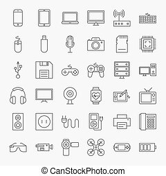 Gadgets and Devices Line Art Design Icons Big Set. Vector...
