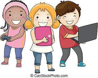 gadgets, apprentissage, illustration, gosse