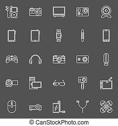 gadgets, ensemble, icônes