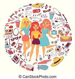 gadgets, femme, caractères, sacs, article toilette, lunettes, chaussures, filles, accessoires, dessin animé, produits de beauté, vetor, divers, magazines., femme, vêtements, stuff., types, illustration.