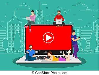 gadgets, gens, mobile, concept., vidéo, utilisation