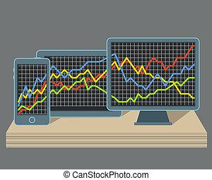 gadgets, graphique, moderne, diagramme