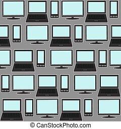 gadgets., ikonen, media, seamless, bakgrund., social, mönster