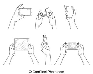 Gadgets in hands. Smart digital mobile devices in human hands holding smartphone laptop tablet pc video cameras vector hand drawn background