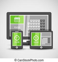 gadgets, interface, résumé, moderne, carreau