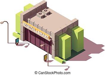 gadgets, isométrique, magasin informatique, vecteur
