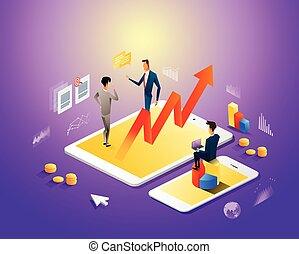 gadgets, isométrique, moderne, écran, travail, virtuel, analytics, rapport, homme affaires, gestion, diagrammes