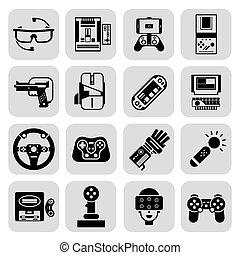 gadgets, jeu, noir