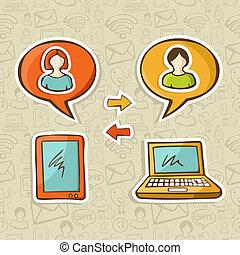 gadgets, média, social, connecter, gens