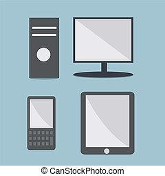 gadgets, résumé, vecteur, moderne, style