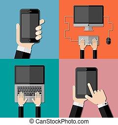 Gadgets. Set of flat icons.