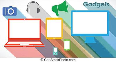 gadgets, set, vector, -, iconen