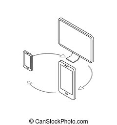 Gadgets synchronization icon, isometric 3d style - Gadgets...