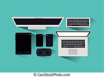 gadgets, tecnology, ensemble, icônes