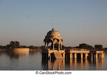 Gadi Sagar Jaisalmer India - the Gadi Sagar lake in...