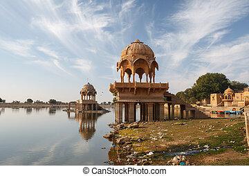 Gadisar Lake in Jaisalmer city is tourist attraction. India, Rajasthan