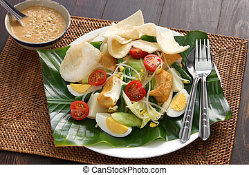 gado gado, indonesian salad with peanut sauce and krupuk
