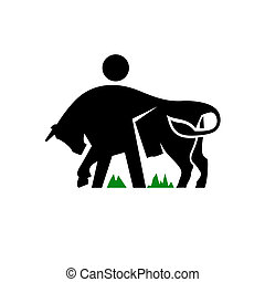 gado, sinal, vetorial