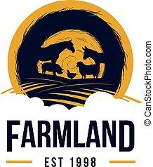 gado, terra, logotipo, fazenda