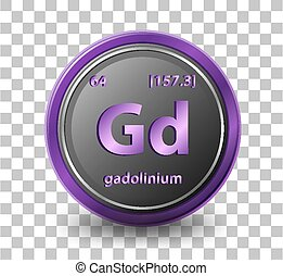 Gadolinium chemical element. Chemical symbol with atomic number and atomic mass.