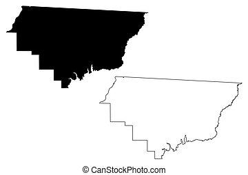Gadsden County, Florida (U.S. county, United States of America, USA, U.S., US) map vector illustration, scribble sketch Gadsden map