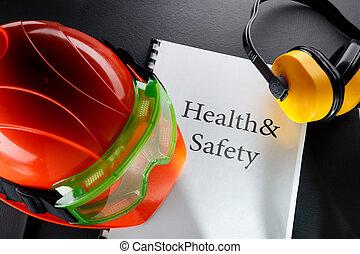 gafas de protección, casco, audífonos, rojo