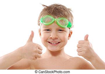 gafas de protección, niño, arriba, pulgares