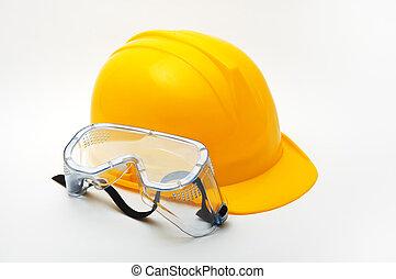 gafas de protección, sombrero, protector, duro, amarillo