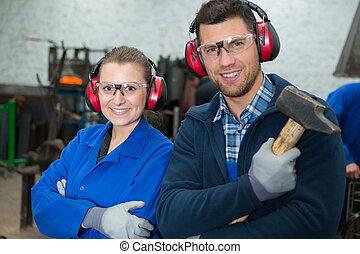 gafas de protección, trabajadores, orejeras, fábrica, ...