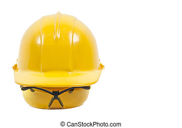 gafas de seguridad, y, sombrero duro