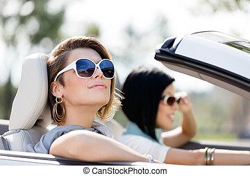 gafas de sol, coche, niñas, encima de cierre, blanco