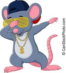 gafas de sol, collar, caricatura, dabbing, ratón, sombrero, ...