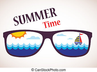 gafas de sol, con, verano, vista, de, océano, mar, y, barco