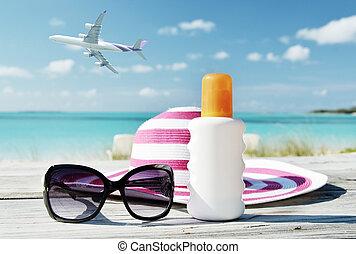 gafas de sol, exuma, sol, bahamas, lotion., sombrero