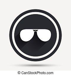 gafas de sol, glasses., señal, icon., aviador, piloto