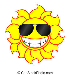 gafas de sol, llevando, sol sonriente