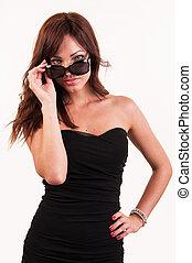 gafas de sol,  Sexy, mujer, Posar