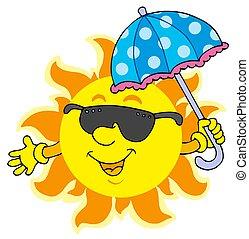 gafas de sol, sol, paraguas