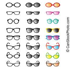 gafas de sol, vector, grupo, anteojos