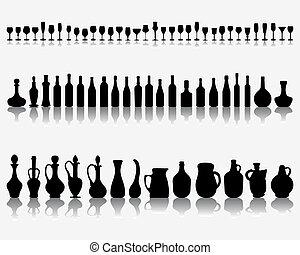 gafas vino, botellas
