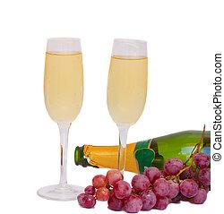 gafas vino, con, uva