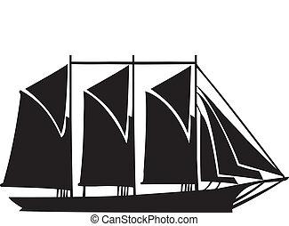 Gaff schooner with three masts