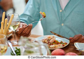 gaffel, äta, nära, kniv, man