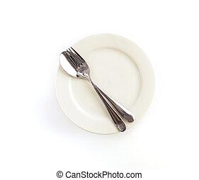 gaffel, dinning, uppe, silversaker, sked, bakgrund, skål, nära, vit, kniv