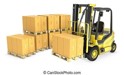 gaffel, gul, rutor, hiss, lastbil, kartong, stack
