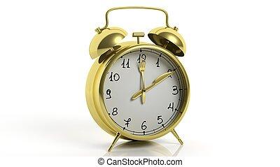 gaffel, guld, klocka, alarm, isolerat, bakgrund., retro, poinets, vit, kniv