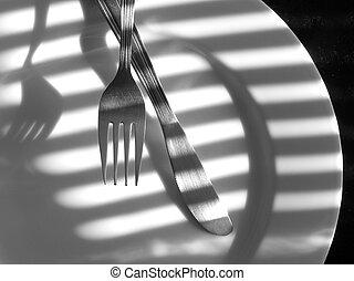 gaffel, kniv