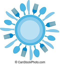 gaffel, kniv, och, tallrik, organiserad, lik, blå, sol
