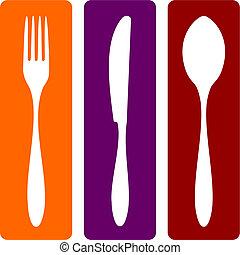 gaffel, kniv, og, ske